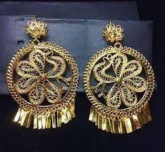 folklorico earrings mexican gold plated filigree ex large peacock folklorico