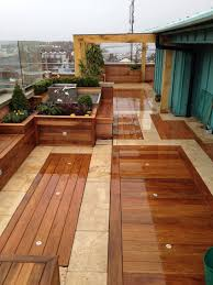 sloped roof with modern mix house kerala home design and floor engaging design ideas of rooftop garden with wooden decks and fascinating brown cream marble glass floors