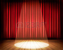 Theater Drop Curtain A Theater Stage With A Red Curtain And A Spotlight Vector