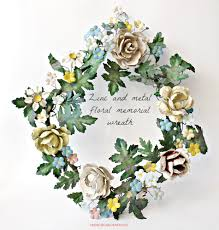 and metal tole memorial floral wreath
