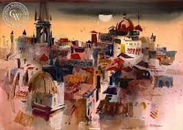 wood artwork for sale rooftops toledo 1969 by robert e wood california