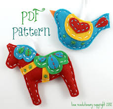 pdf pattern felt dala horse and swedish bird xmas ornament