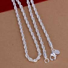 cheap silver chain necklace images 925 sterling silver lovely flash wrest rope chain 4mm necklace 18 jpg