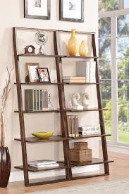 White Glass Bookcase by Large Brown Wooden Stair Bookcase Overlooking White Glass Door