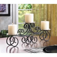 wholesale black wrought iron scroll triple pedestal candle holder