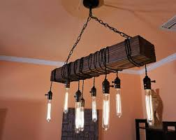 Iron And Wood Chandelier Rustic Chandelier Etsy