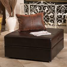 Leather Storage Ottoman Burlington Brown Bonded Leather Storage Ottoman By Christopher