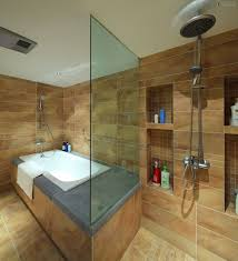 Japanese Bathrooms Design by Japanese Bathroom Design With Glass Partition Mixed Black Wall