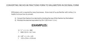 how to convert inches in fraction form to millimeters in decimal