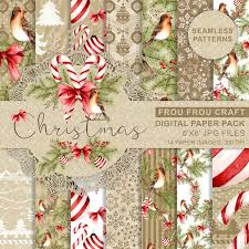christmas paper pack xmas scrapbook paper watercolor digital