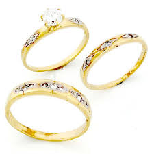10k gold wedding ring sets 10k gold his hers trio 3 cz wedding ring sets