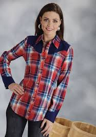 Plus Size Cowgirl Clothes Roper Women U0027s Red Plaid Retro Ls Cowgirl Shirt