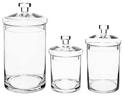 mygift glass apothecary jars with lids set of 3 u0026 reviews houzz