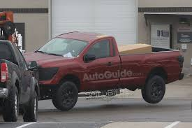 gray nissan truck 2017 nissan titan regular cab spied undisguised on a forklift
