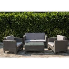 Grey Rattan Outdoor Furniture by Dark Grey Four Piece Rattan Garden Furniture