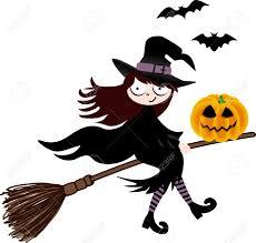 cartoon halloween witch flying info