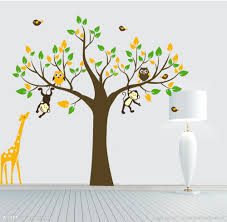decorative wall paper art sticker picture more detailed picture wholesale 2013 new design xl size 180x200cm jungle safari animals tree wall stickers nursery decal kids