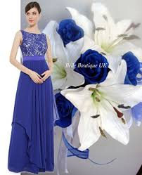 alice sapphire blue lace long bridesmaid evening party dress uk