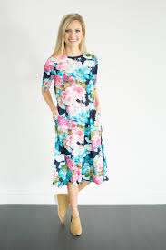 floral dresses swing sleeve floral dress navy teal modest dresses boutique