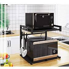 kitchen pantry storage cabinet microwave oven stand with storage metal microwave oven rack toaster stand shelf expandable kitchen supplies tableware storage counter space saver cabinet organizer spice holder with 3