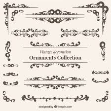vintage decoration ornaments collection vector premium