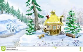 fairy tale house in a winter forest at christmas eve stock