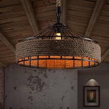 Antique Style Light Fixtures Rope Drum Shape Industrial Style Light Fixtures Pertaining To