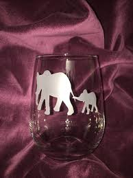 elephant stemless wine glassmom and baby elephant etched
