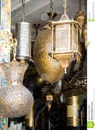 traditional lamps on the market in fes morocco stock photo