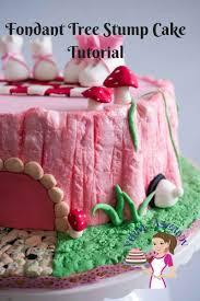 fondant tree stump cake tutorial pink baby shower cake veena