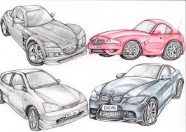 pencil drawing of a car cars vans motorbike bicycle cartoons and