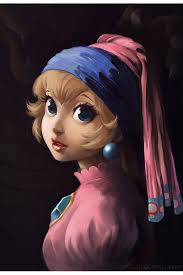 painting girl with a pearl earring lothlenan on princesspeach posing in a vermeer