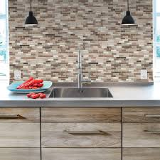 Smart Tiles Muretto Durango  In W X  In H Peel And - Home depot tile backsplash