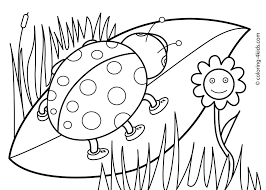 butterfly with flowers coloring pages at spring for preschoolers