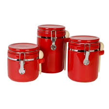 amazing astonishing red canister set for kitchen ceramic red