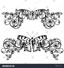 floral border design butterfly flowers black stock photo photo