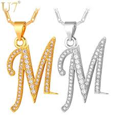 letter necklace silver images Buy u7 capital initial m letter necklace for jpg