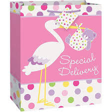 baby shower gift bags pink stork baby shower large gift bag walmart