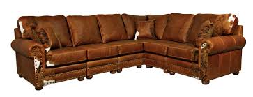 pillow arm leather sofa furniture l shaped brown leather nailheaded rustic couch with