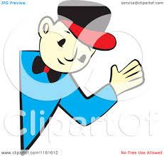 cartoon of a handy man waving around a corner royalty free