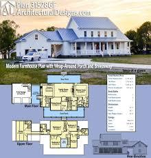 farmhouse plans wrap around porch plan 31528gf modern farmhouse plan with wrap around porch and
