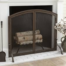 small single panel fireplace screen room design decor contemporary