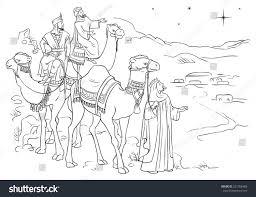three wise men following star bethlehem stock vector 231956488