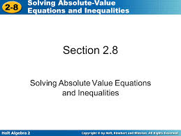 solving absolute value equations and inequalities ppt download