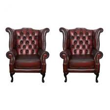 Queen Anne Wingback Chair Leather Queen Anne Chair Vintage Chairs U0026 Armchairs Ebay