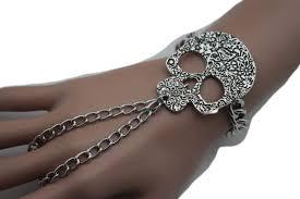 halloween charm bracelets silver metal bracelet slave ring skeleton skull charm halloween