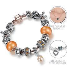 pandora style bracelet clasp images Under the sea silver rose gold pandora style bracelet combo set jpg