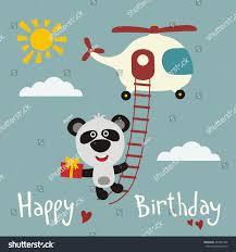 happy birthday funny panda bear flying stock vector 467487446