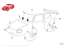 funny cartoon car dot to dot free printable coloring pages