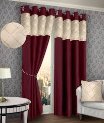 ring top eyelet lined pintuck curtains faux silk burgundy u0026 cream